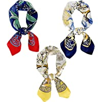 Satin Head Scarf for Women - 27.5 x 27.5 inches Square Neck Scarves - Silky Hair Wrap 3 Packs