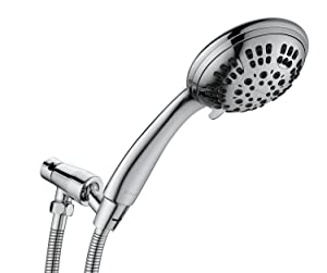 G-Promise High Pressure Shower Head Premium 6 Spray Setting Hand Held Shower Heads with Adjustable Solid Brass Shower Arm Mount Extra Long Flexible Stainless Steel Hose Chrome Finish (Chrome)