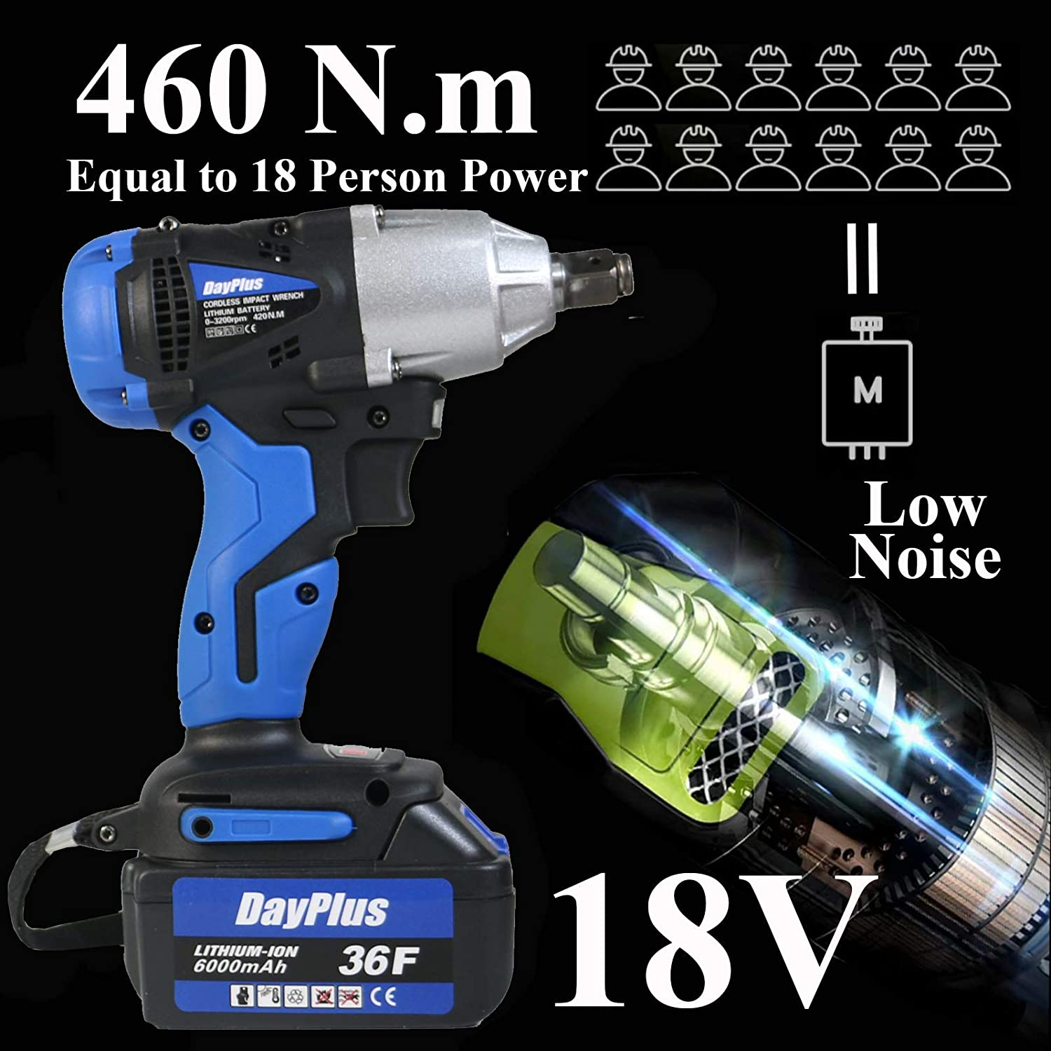 Socket Set Kit Variable Speed Trigger with 18V Lithium-Ion Battery Waterproof ZanGe 460Nm Electric Impact Compact Wrench,Cordless 1//2 Output Shaft
