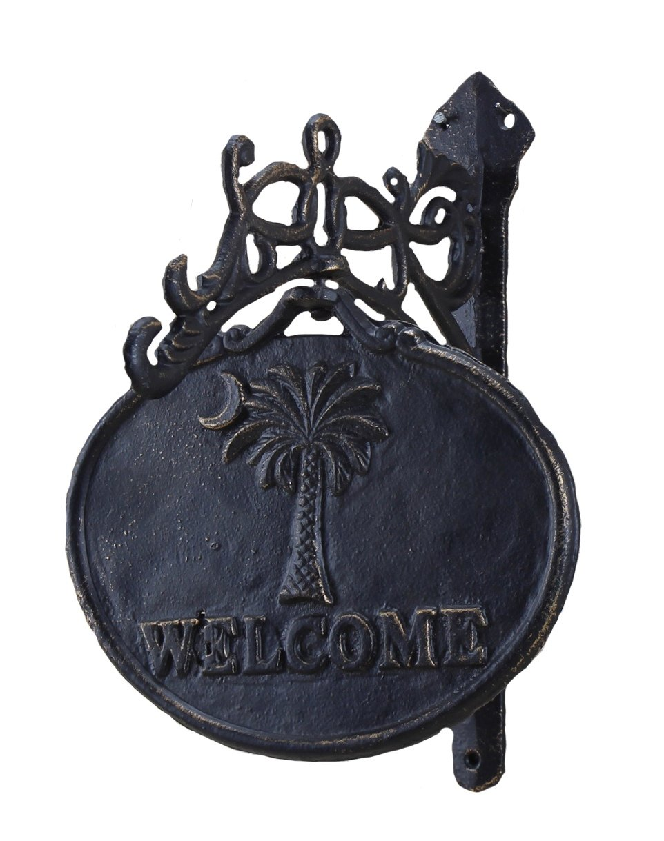 Young's Cast Iron Palmetto Moon Welcome Sign, 11-Inch