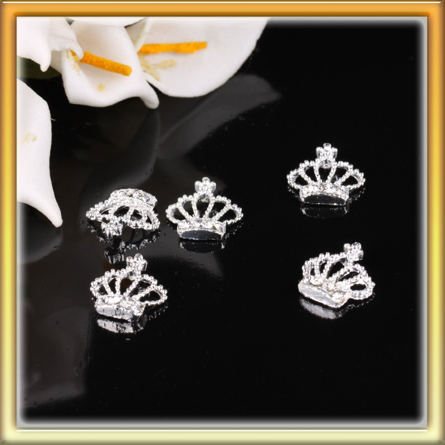4495be1644 Lybeauty Ly 5Pcs Fashion Nail Art 3D Crown Shaped Rhinestone Metal ...