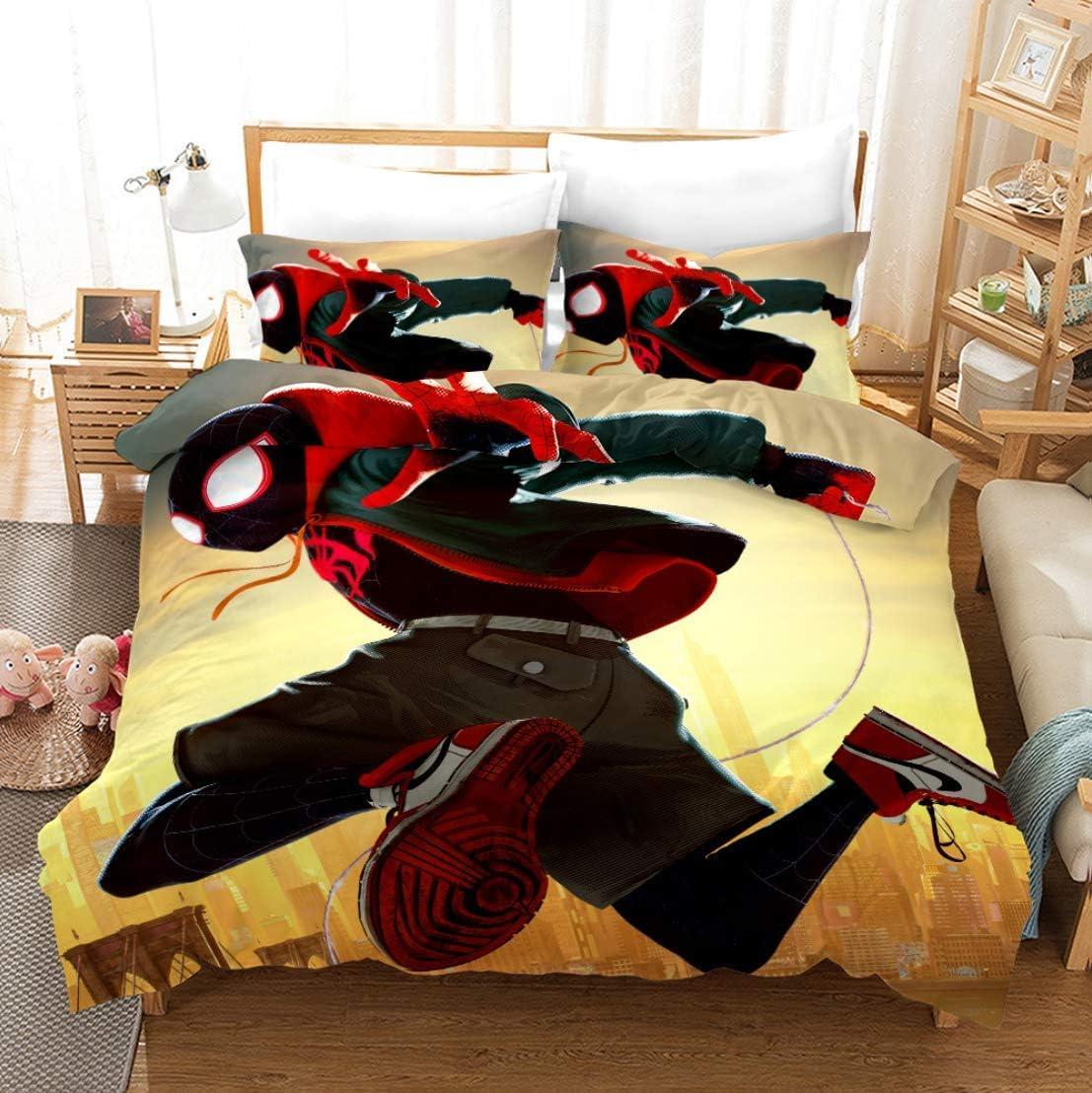 NOOS Marvel Spider-Man Bedding for Boys 3D Spider-Man Duvet Cover Queen Size, Cartoon Marvel Comforter Cover Set, Suitable Kids and Teen Super Soft Microfiber Bed Set 3PC,1Duvet Cover, 2Pillowcases