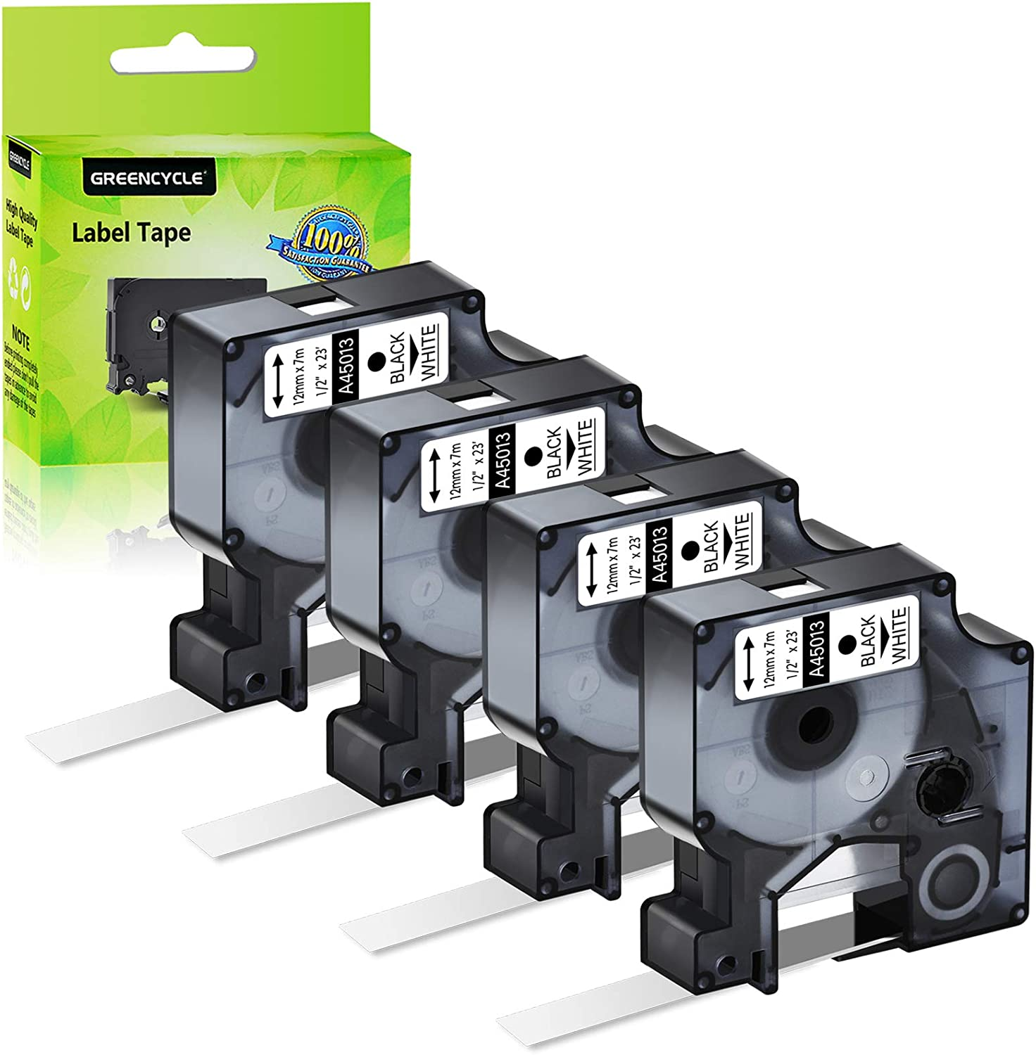 1 PK Black on White for Dymo 45013 S0720530 Labelmanager 100 150 Label Tape