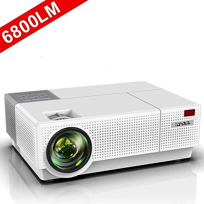 Proyector, YABER 6800 Lúmenes Proyector Full HD 1920x1080P Nativo Soporta 4K Corrección Trapezoidal 4D de ±50° Proyector Cine en Casa Sonido Dolby 90000 Horas Contraste 8000: 1 con PS4/PC/TV Box