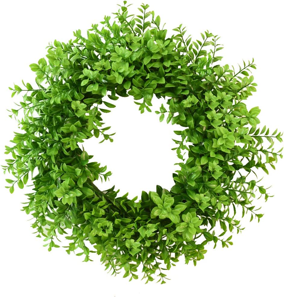 "Palmhill 17"" Eucalyptus Wreath, Artificial Plastic Green Leaf Wreath Spring Farmhouse Hoop Wreath Greenery Garland for Home Kitchen Office Wall Window Wedding Décor All-Season"