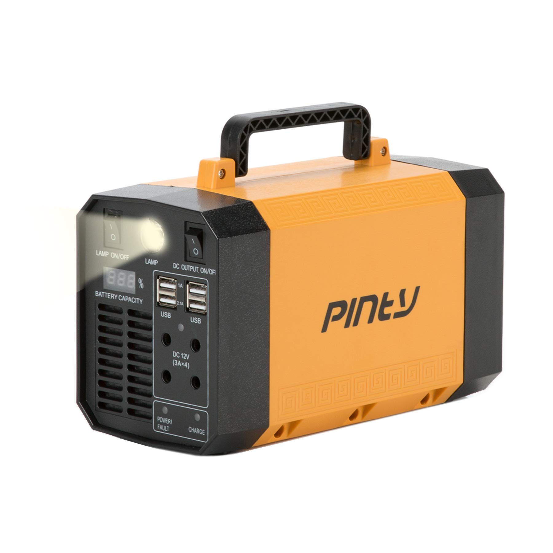 Pinty Portable Uninterrupted Power Supply, UPS Battery Backup, Rechargeable Generator Power Source with AC Inverter, USB, DC 12V Outputs for Outdoors and Indoors (300W, Yellow)