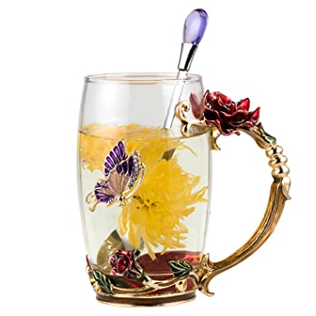 Unique 2018 New Birthday Presents Mother Day Gift For Women Girl Boyfriend Novelty Flower Glass Tea