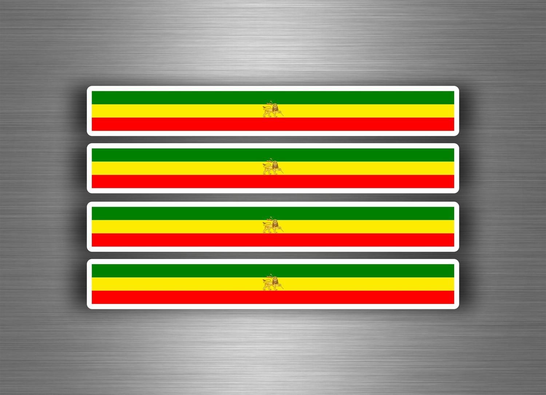 4x self adhesive car bike sticker stripes tuning flag ethiopia rasta lion amazon co uk car motorbike
