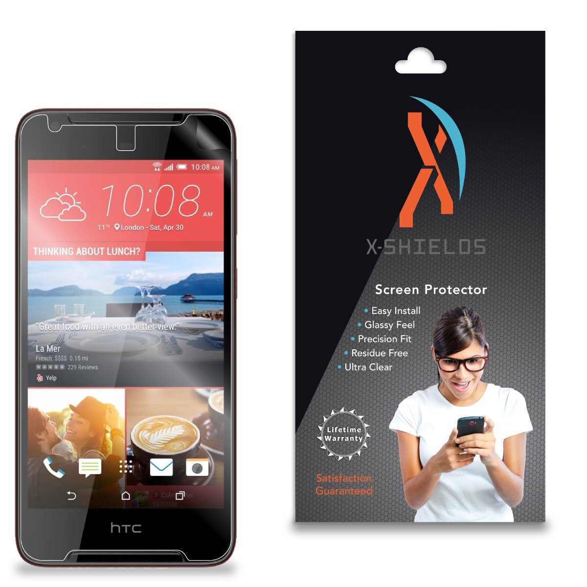 XShields High Definition (HD+) Screen Protectors for HTC Desire 628 (Maximum Clarity) Super Easy Installation [5-Pack], Advanced Touchscreen Accuracy