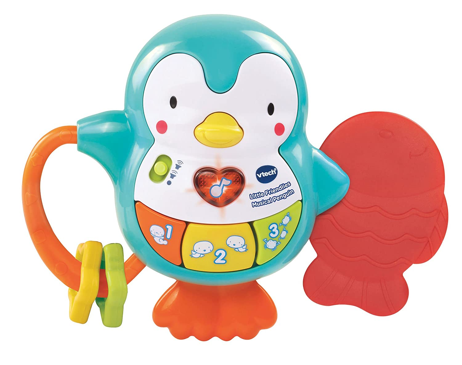 d02a1132dd Vtech Baby Little Friendlies Musical Penguin Baby Toy, Rattle and Teether,  Educational Musical and Sensory Toy, Cot and Pram Toy Suitable for 3 6 and  ...
