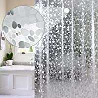 EurCross PEVA Shower Curtain Liner 54x72inch, Vinyl Waterproof Semi Translucent Weighted Shower Liner with Magnets and 9…