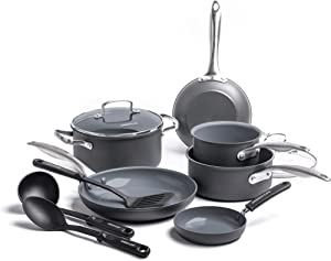 GreenLife Classic Pro Hard Anodized Aluminum Stainless Steel Handle Cookware Set, 12pc, Dark Gray