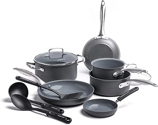 Stainless Steel Cookware Set Nonstick Cooking Pots And Pans Kitchen Handles 12Pc