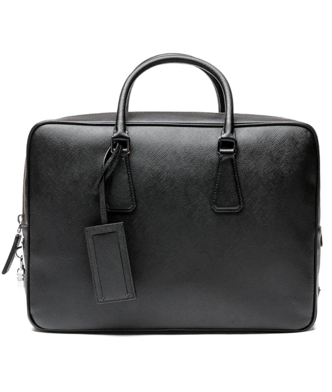 Prada Women's Top Zip Real Leather Handbag One Size Black