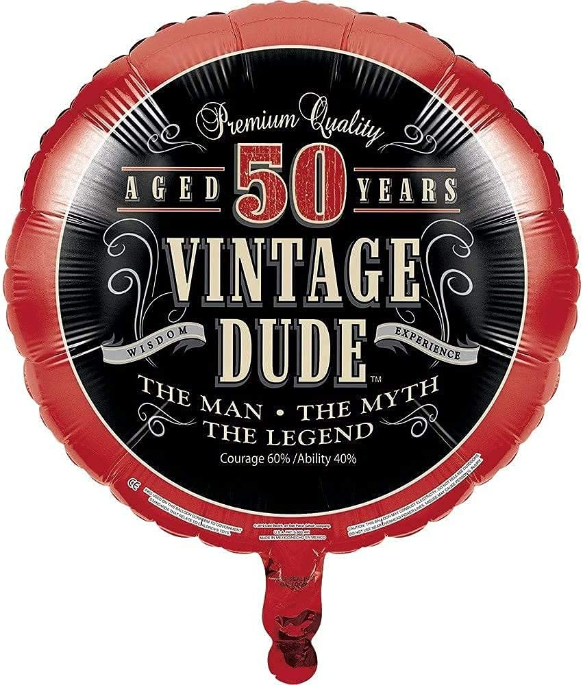 Vintage Dude 50th Birthday Party Decoration Bundle! 50th Birthday Celebration Decor Bundle Includes - Jointed Banner, Honeycomb Centerpiece, Balloons and Curling Ribbon!!
