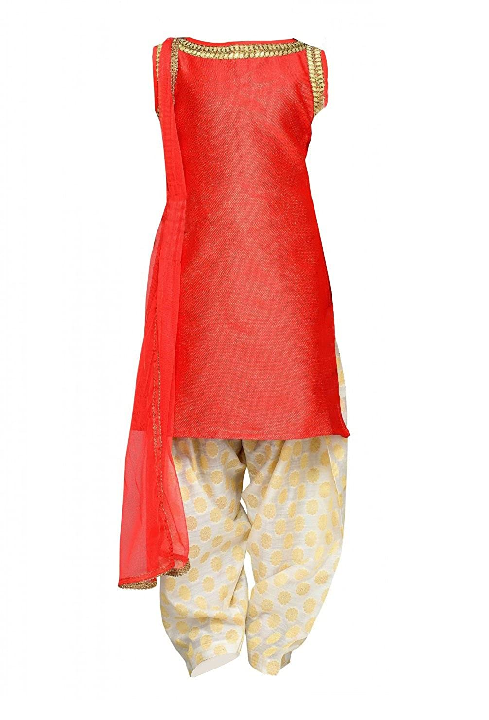 ce833136a5 White Button Girl's Red Heavy Satin Silk Patiala Style Readymade Latest  Kids Salwar Suit Dress: Amazon.in: Clothing & Accessories