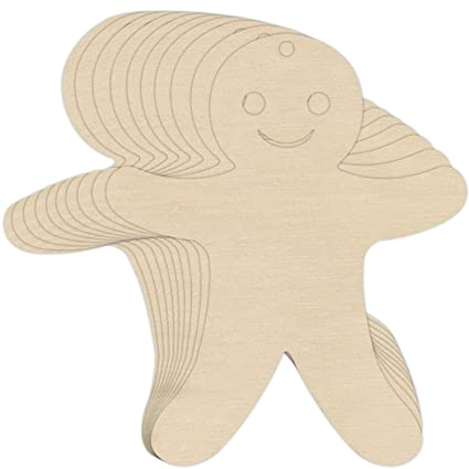 10 X Gingerbread Man Cookie Wooden Shapes 12 X 95 Cm Plain Plywood Shapes To Hang Unpainted Blank Pyrography Cutouts Perfect For Paint