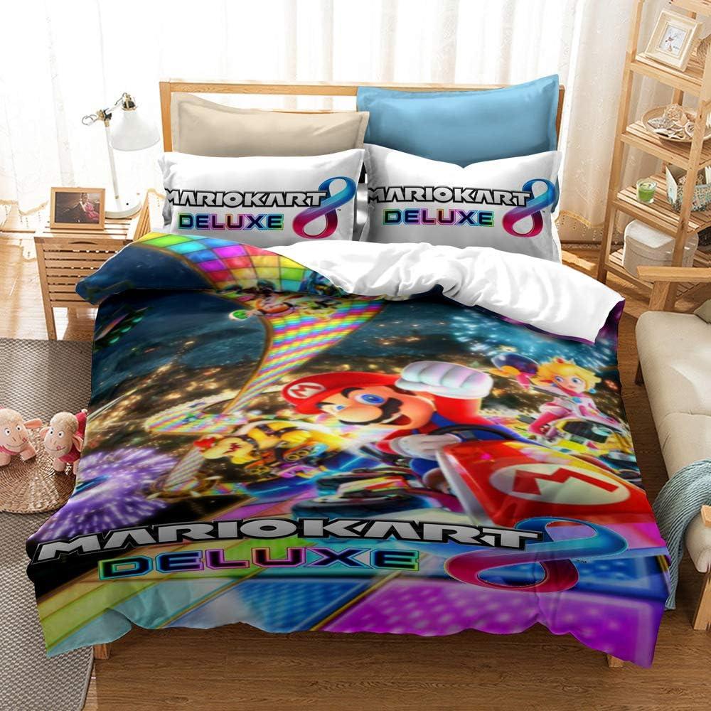 No Comforter 3D Effect Super Mario Soft Microfiber Boys Girls Bedding Set Duvet Cover Pillow Cases Cartoon Theme Soft Twin