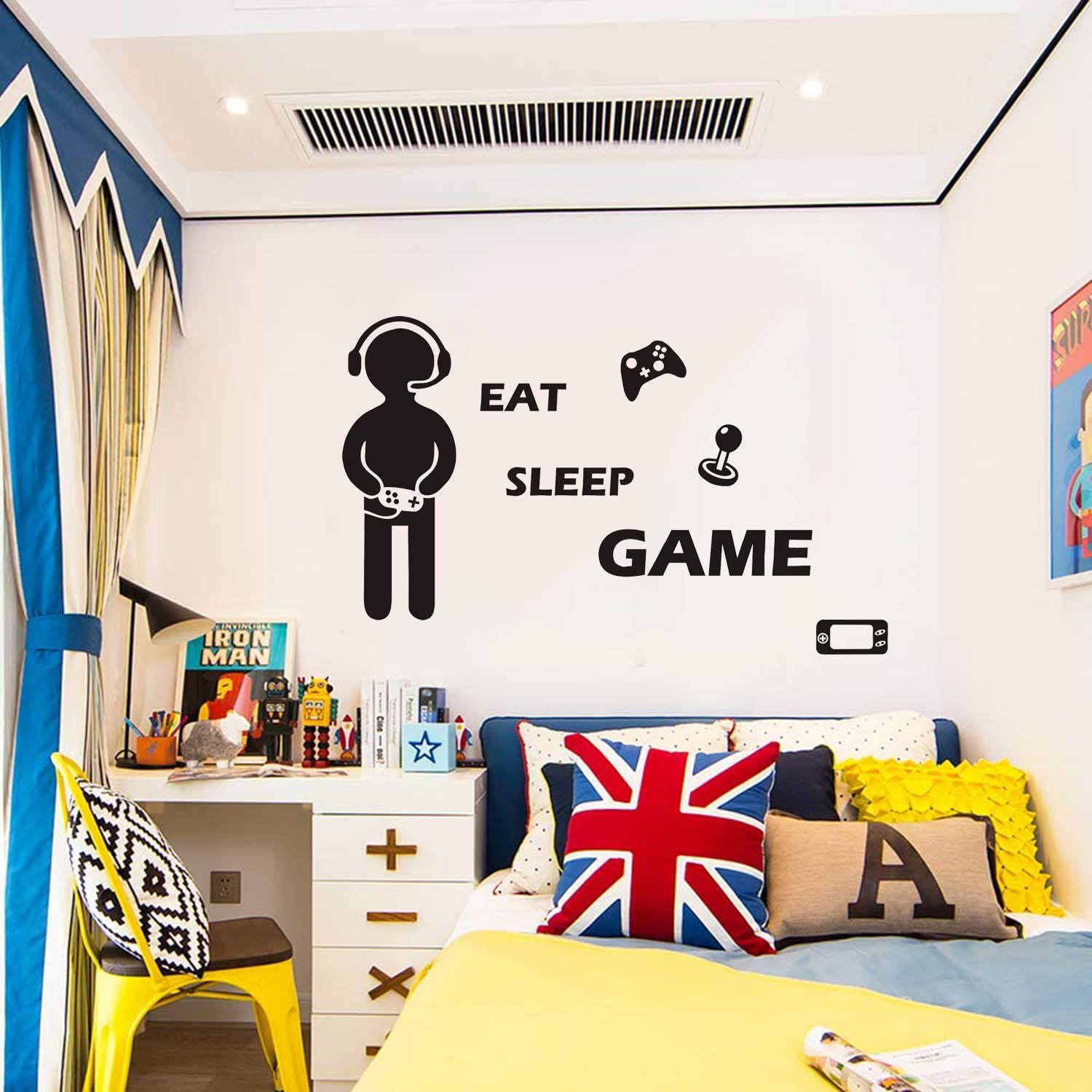 Game Wall Decal Wall Sticker Gamer Poster with Eat Sleep Game Quotes Wall Stickers Video Game Wall Decor Game Wall Decals Kids Boys Teens Game Lover Room Decoration