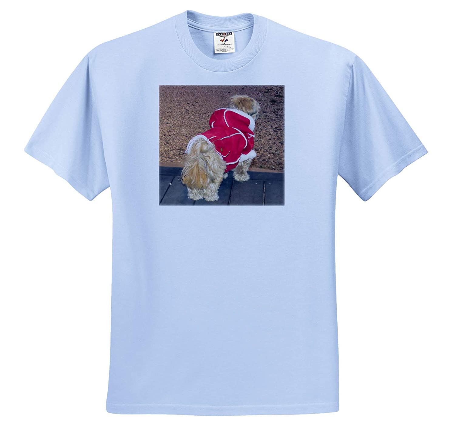 3dRose Jos Fauxtographee A Christmas Coat on an Adorable Shih Tzu Doggie Red Coat Puppy T-Shirts