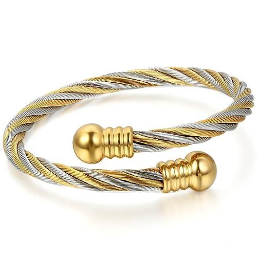 JewelryWe Schmuck Herren Damen Armband, Streifen Draht Armreif ...