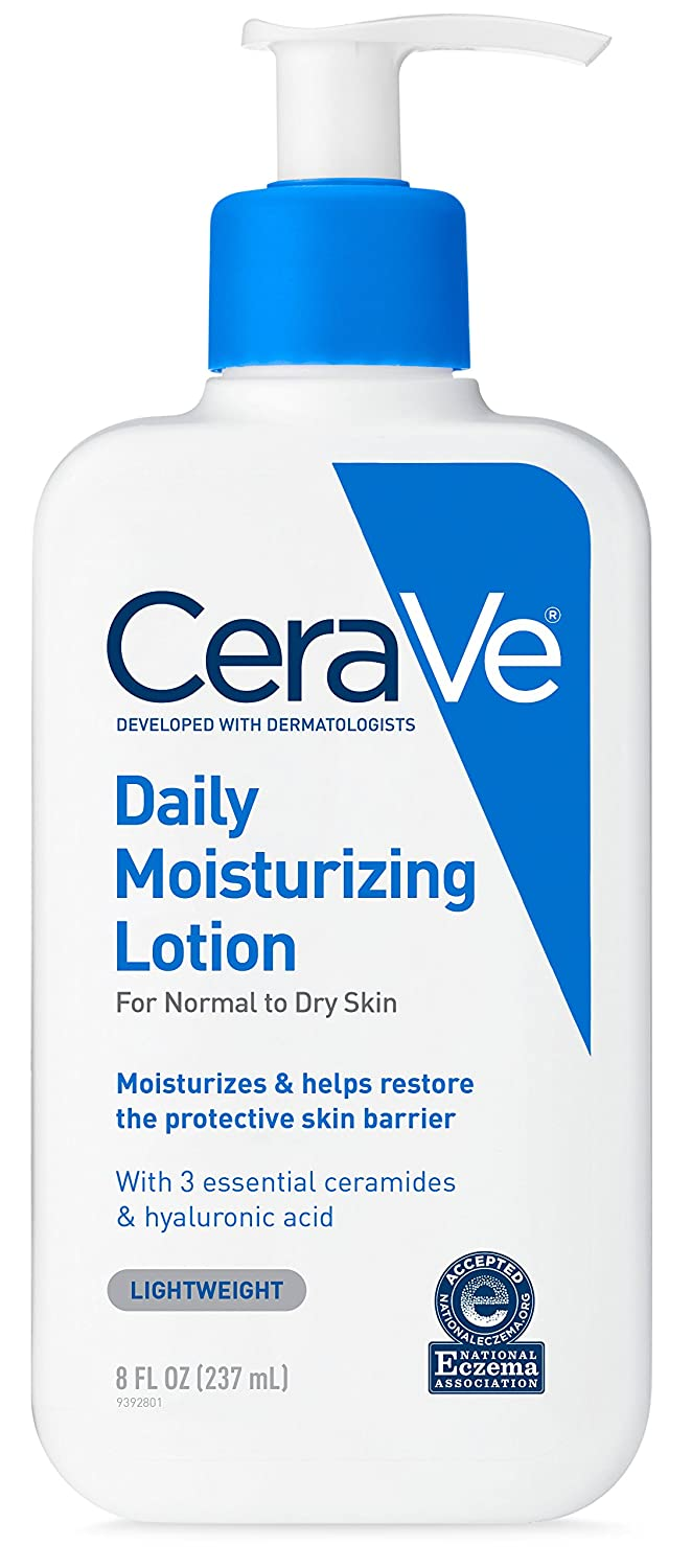 CeraVe Daily Moisturizing Lotion | 8 Ounce | Face & Body Lotion for Dry Skin with Hyaluronic Acid | Fragrance Free