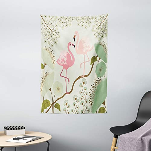 Ambesonne Wildlife Decor Collection, Blossom Floral Background with Pair of Flamingos Painting, Bedroom Living Kids Girls Boys Room Dorm Accessories Wall Hanging Tapestry, Teal Pink Beige