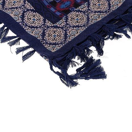 30042c4b0d2 HuaYang Femmes Automne Hiver Mode ethnique bohème confortable Tassel Hem  Bohême Echarpe Foulard en coton - Bleu  Amazon.fr  Vêtements et accessoires