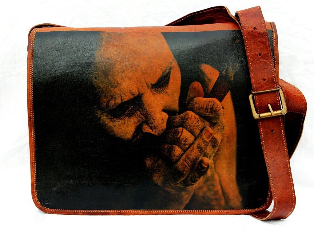 Leather painting Vintage Laptop Messenger Handmade Briefcase Bag Satchel  Men s durable modeling 1e4232055bb75