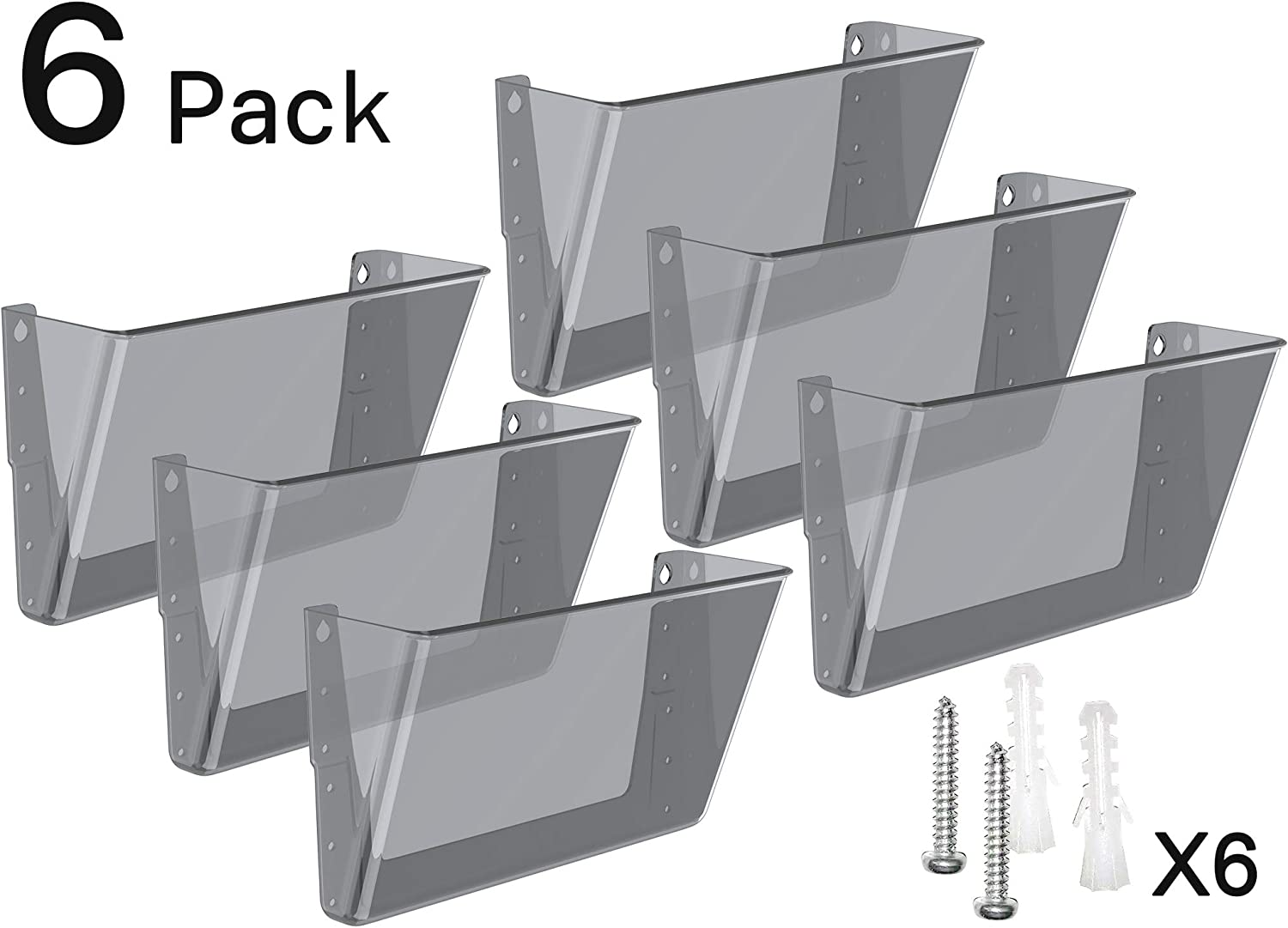 MaxGear Acrylic File Holder Wall Organizer 6 Pockets Hanging File Organizers Wall Mounted Paper Organizer Holders Wall Bins for Office and Home, Smoke, 13x4x7 inches