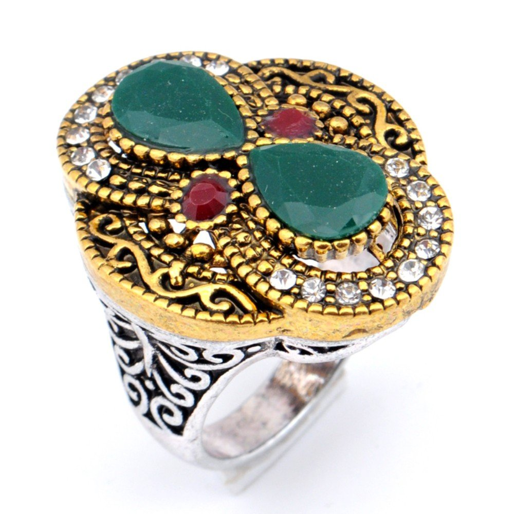 Exotic Dyed Ruby /& Emerald Silver Plated-Brass Ring Size 8.5 US Turkish Style Handmade