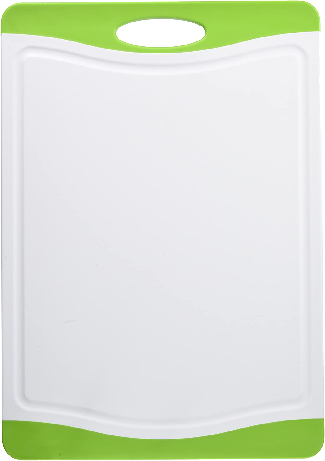 """Neoflam 17"""" Plastic Cutting Board in White and Green - BPA Free, Non Slip, Dishwasher Safe, Microban Antimicrobial Protection"""