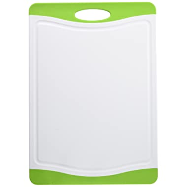 Neoflam 17  Plastic Cutting Board in White and Green - BPA Free, Non Slip, Dishwasher Safe, Microban Antimicrobial Protection