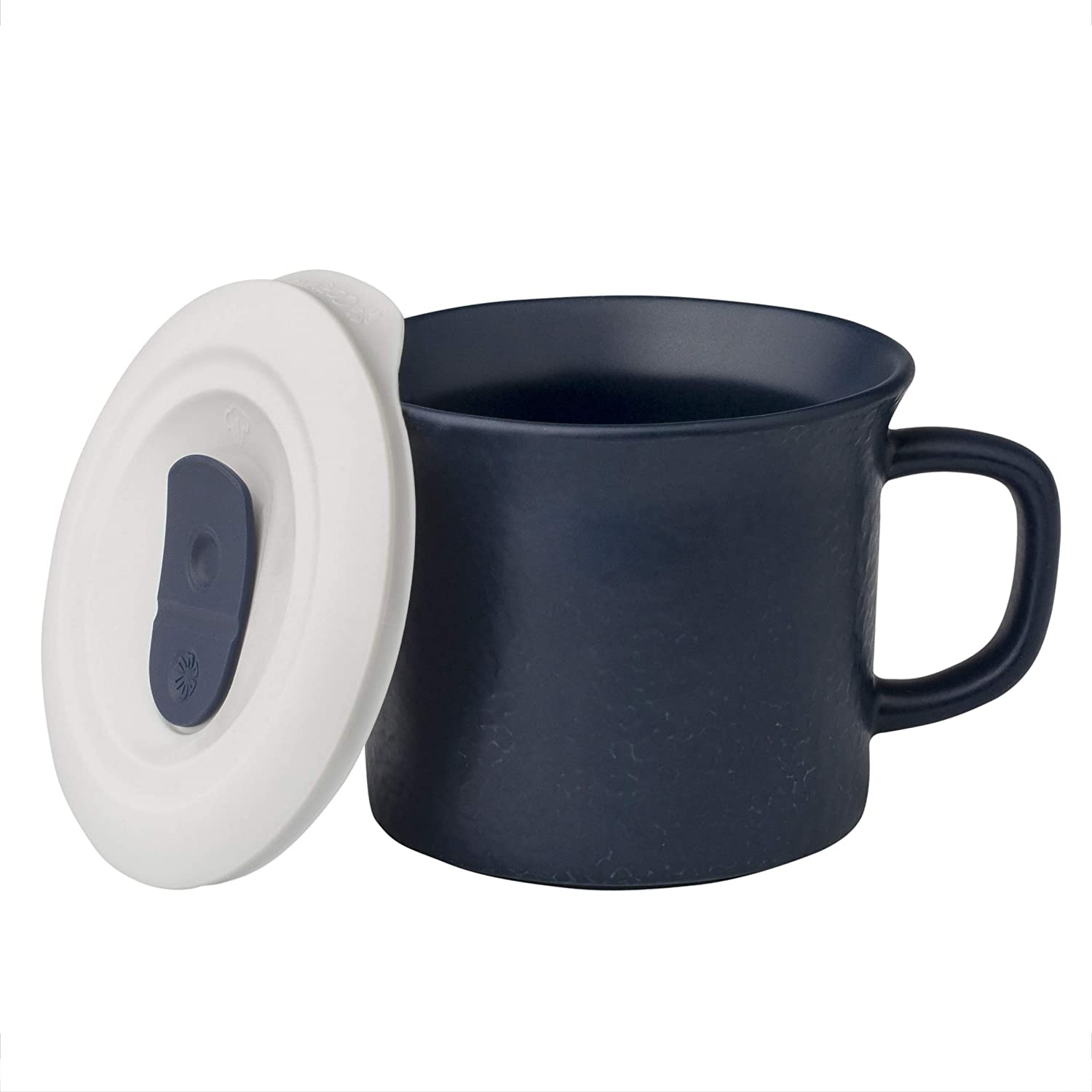Corningware 20 Ounce Hammered Navy Blue Meal Mug With Vented Lid