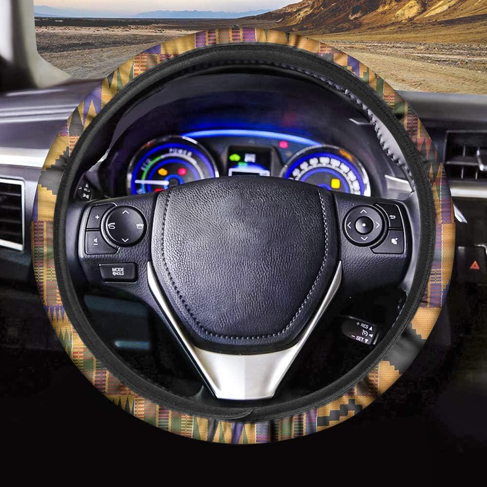 BIGCARJOB Yellow Sunflower Steering Wheel Cover Stretch-on Soft Fabric Steering Wheel Cover Universal Fit for Womens Vehicle Decor