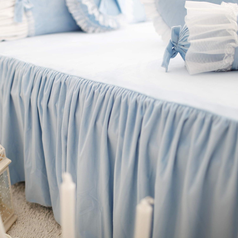 FADFAY Cute Girls Short Plush Bedding Set Romantic White Ruffle Duvet Cover Sets 4-Piece,Blue Twin