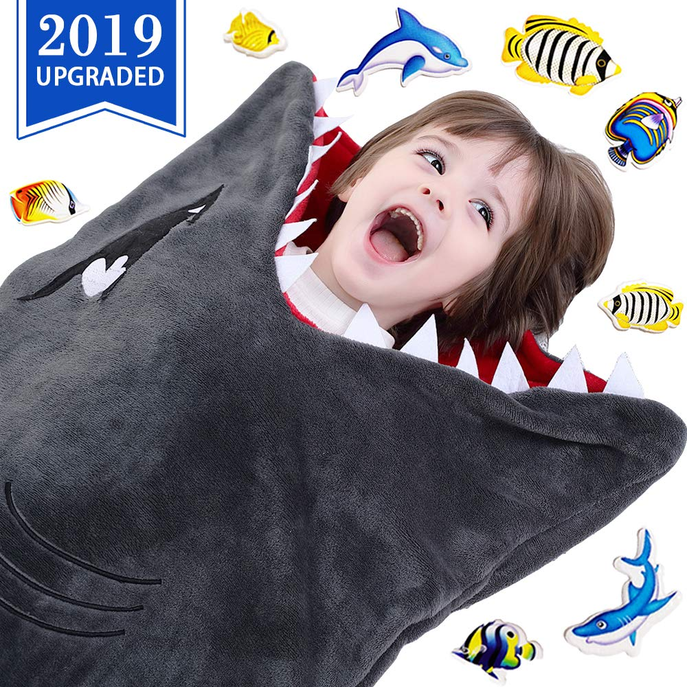 CozyBomB Cozy Shark Tails Blanket for Kids - Smooth One Piece Design - Durable Seamless Snuggle Plush Throw - Enlarged Size Gray Sleeping Bag with Blankie Fun Fin for Boys and Girls