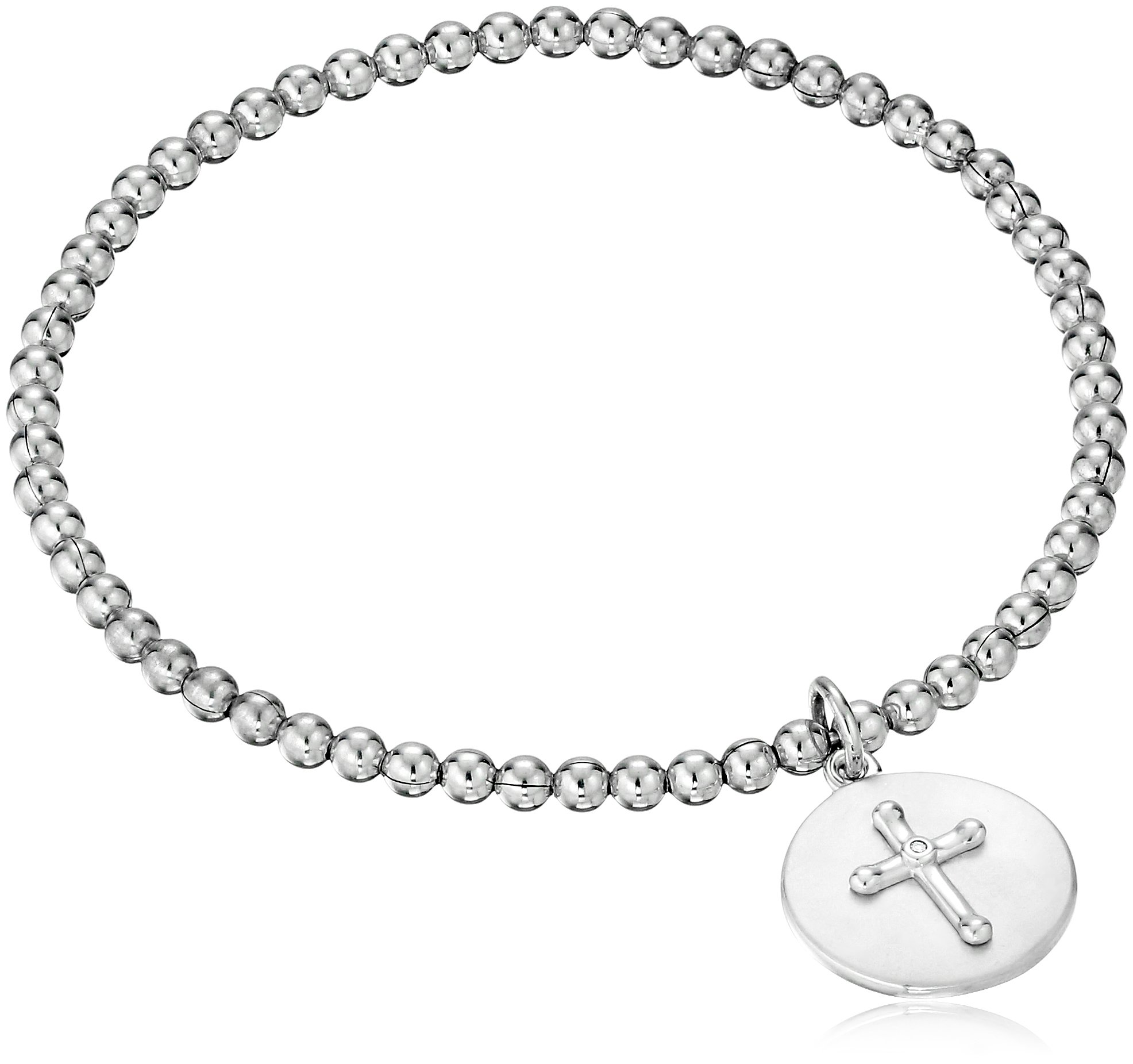 Sterling Silver Diamond Accent Faith Conquers All Cross Stretch Bead Charm Bracelet
