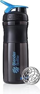 BlenderBottle SportMixer Tritan Grip Shaker Bottle, Transparent Black/Cyan, 28-Ounce