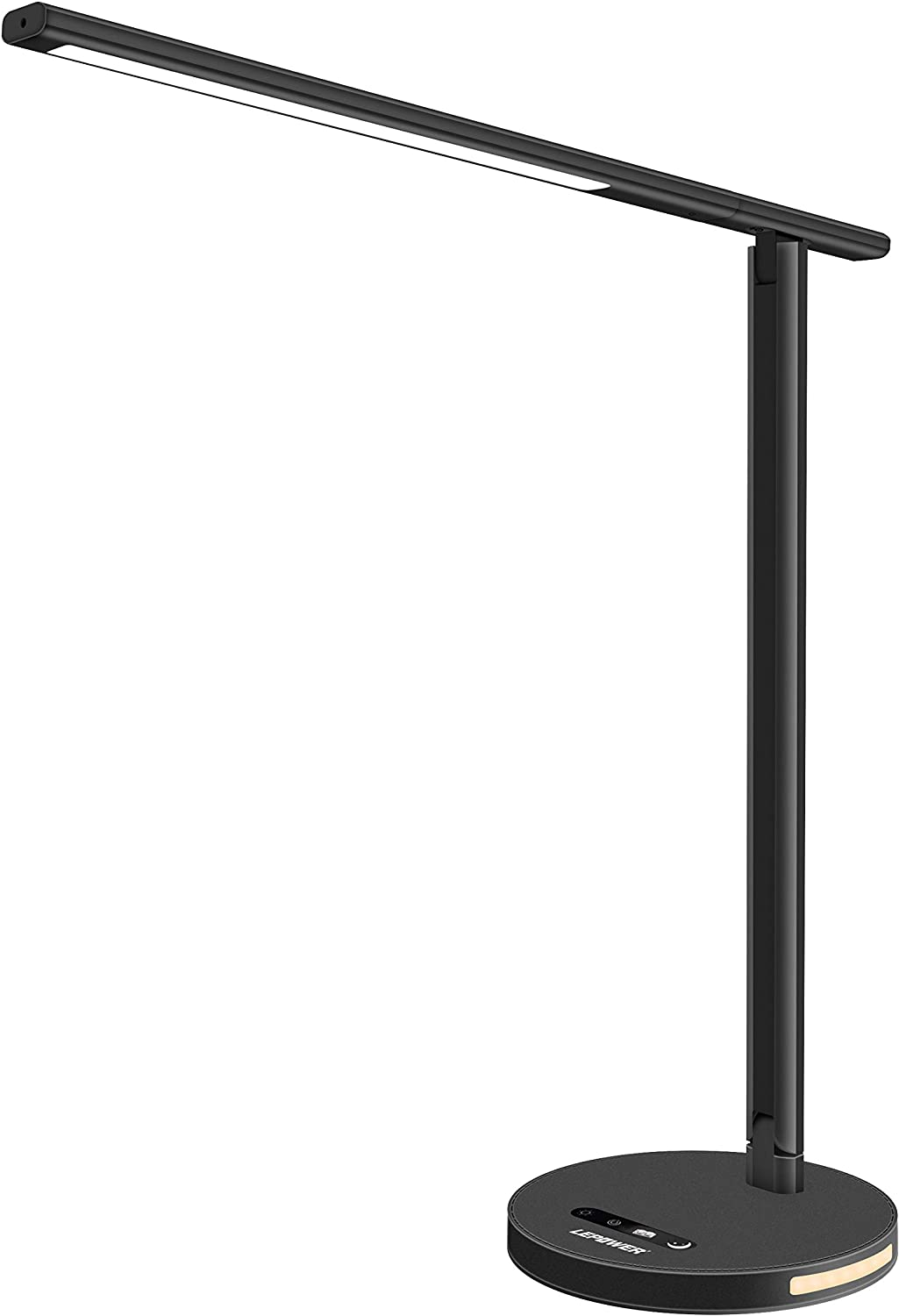 LEPOWER Metal Desk Lamp, Eye-Caring Touch Control LED Table Lamps, Dimmable Office Lamp, 3 Color Modes Stepless Brightness, Memory Function, Foldable Study Lamps with Night Light (8W) (Black)