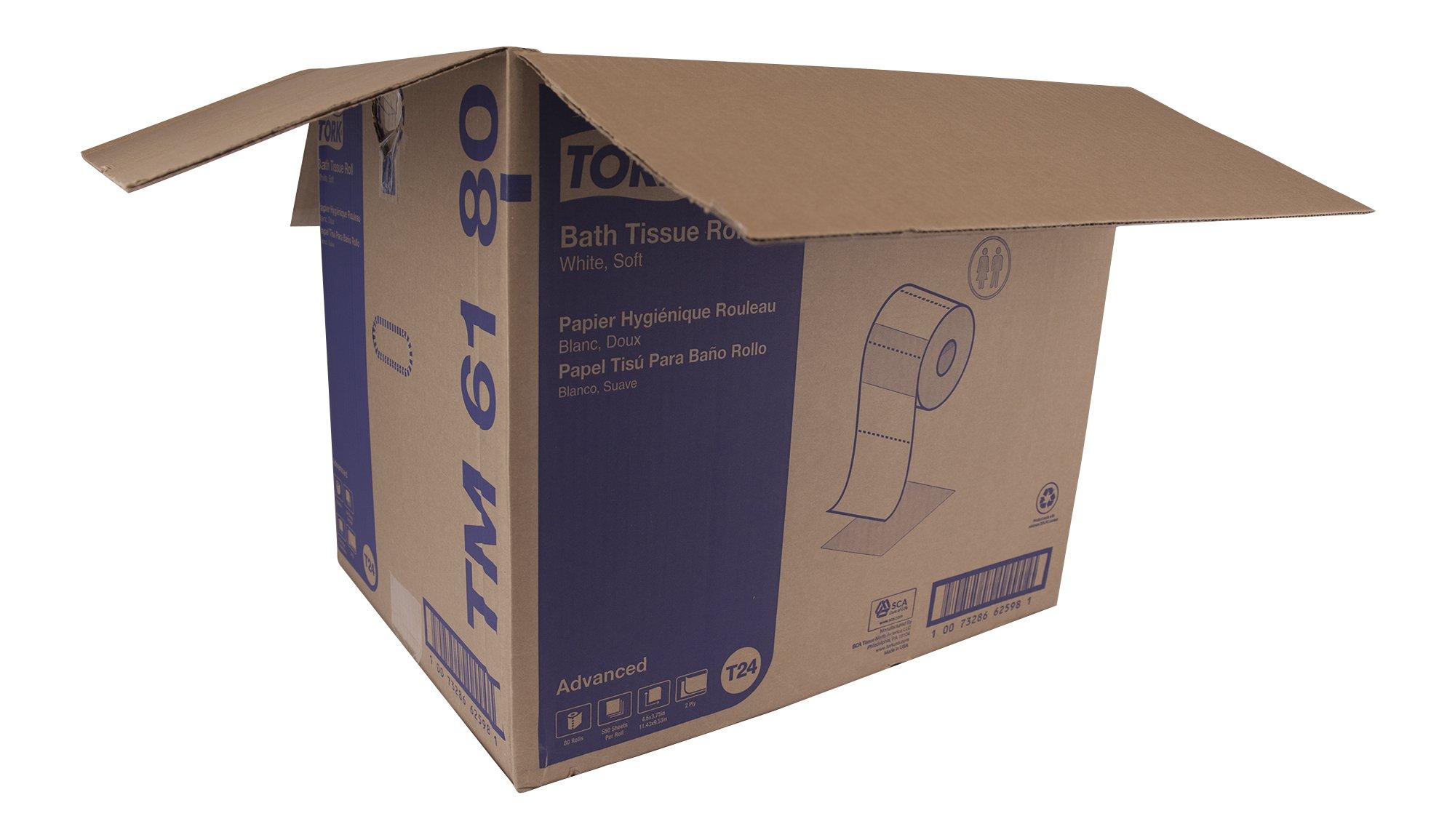 Tork Advanced TM6180 Soft Bath Tissue - open case