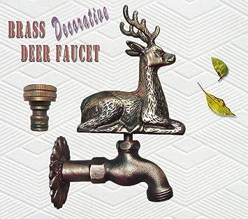 Attractive Brass Decorative Deer Garden Outdoor Faucet   With A Brass Connecter