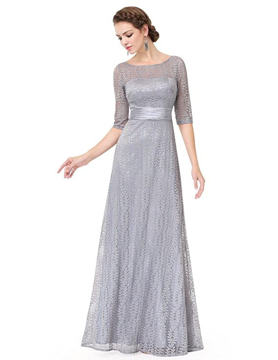 Ever-Pretty Womens A-Line Formal Slim Maxi Lace Bridesmaids Dress With Sleeve 08878 at Amazon Womens Clothing store: