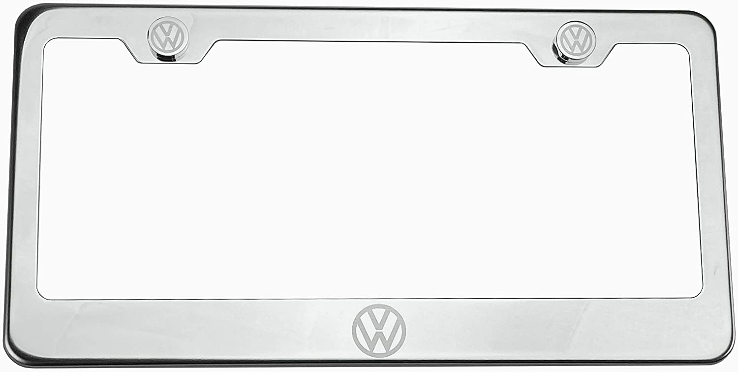100/% Stainless Steel Fit Volkswagon Logo Laser Engrave Chrome Mirror Polish License Plate Frame Holder with Logo Steel Screw Caps