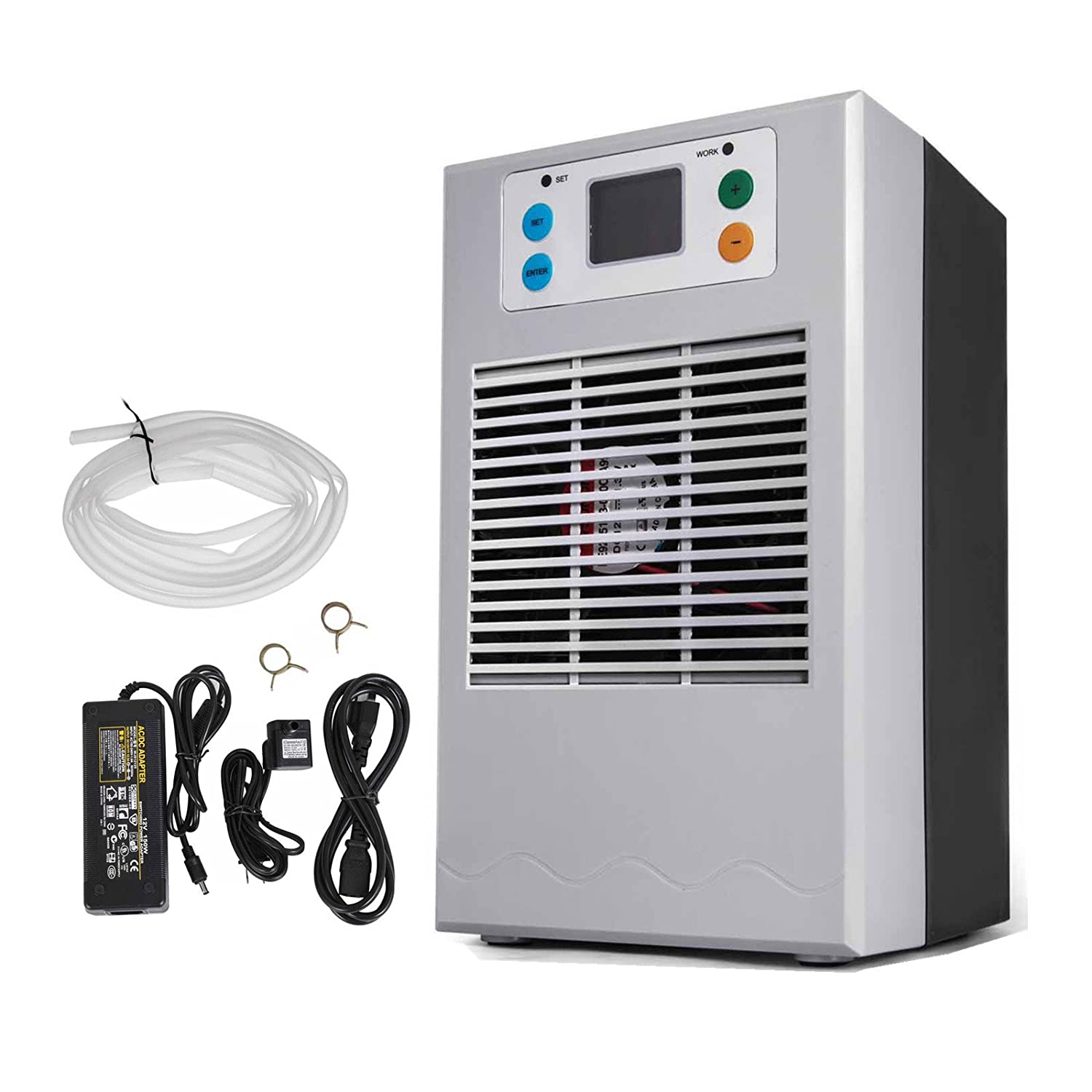 Happybuy 35L 100W Aquarium Water Chiller with Pump Kit Fish Tank Chiller Water Cooling Machine Shrimp Tank Water Cooler for Fresh Water Salt Water Plant Tank Hydroponic Chiller (100W)