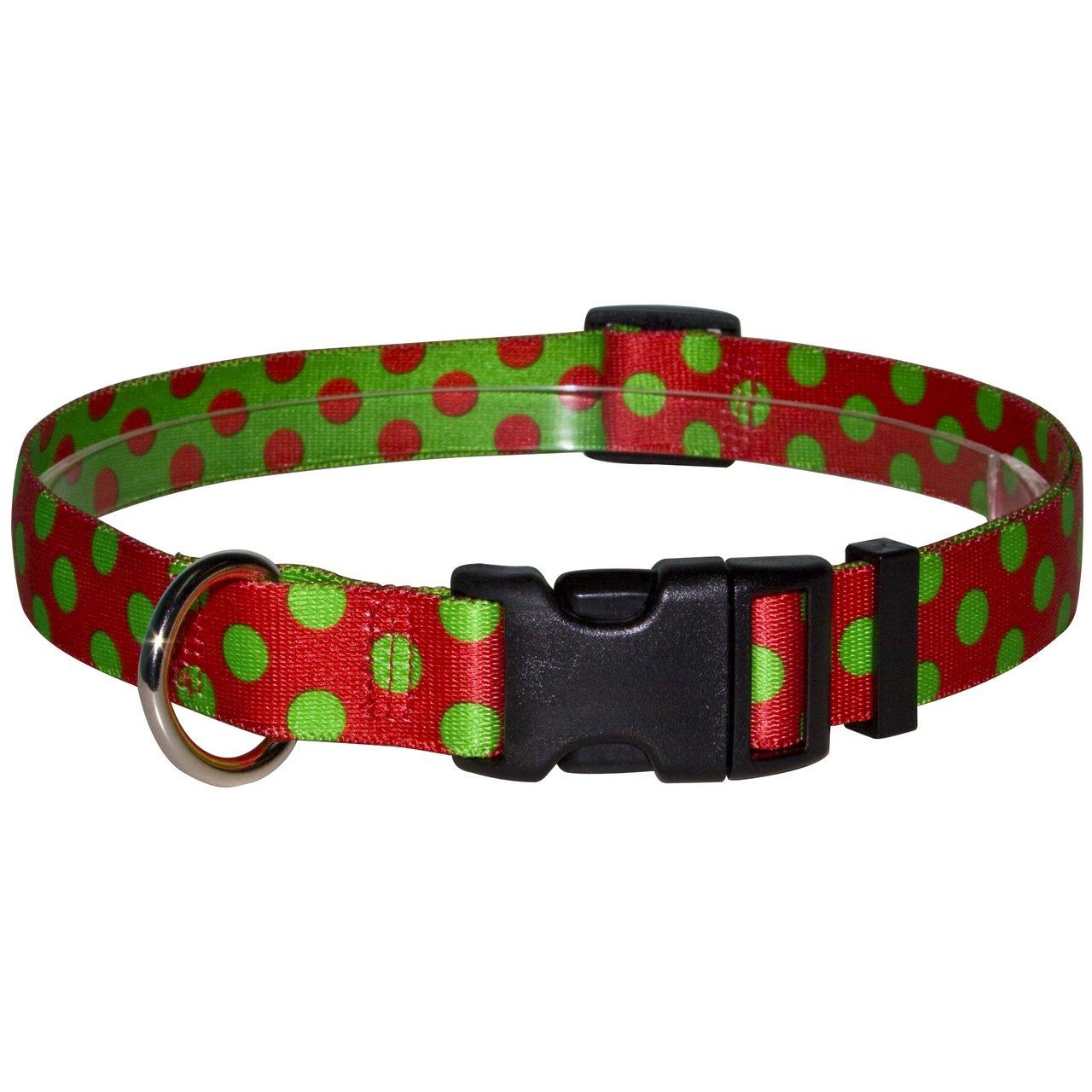 Yellow Dog Design Christmas Polka Dot Dog Collar 3/8 Wide And Medium 3/4 Wide CP104
