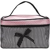 Trousses à Maquillage,LONUPAZZ Fashion Sac Cosmétique Voyage Femme Square Bow Stripe Trousse De Toilette (Noir)