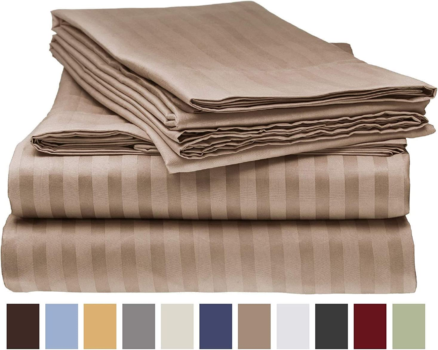 Olympic Queen 1 PC Fitted Sheet Extra Deep Pocket Egyptian Cotton Striped Colors