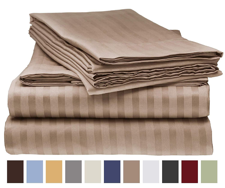 1000TC Egyptian Cotton SHEET SET Custom Extra Deep Pocket Charcoal Stripe