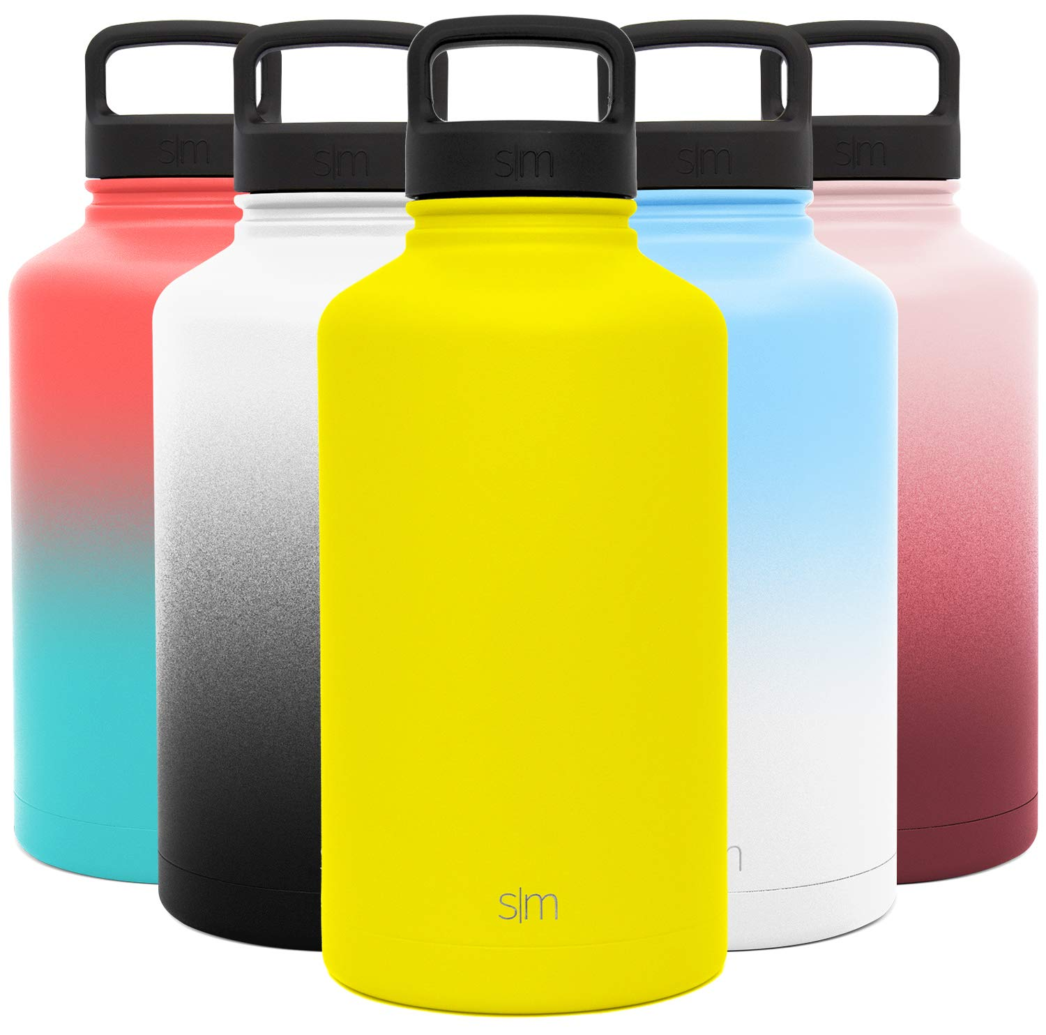 Simple Modern 64 Ounce Summit Water Bottle - Large Stainless Steel Half Gallon Flask +2 Lids - Wide Mouth Double Wall Vacuum Insulated Yellow Leakproof -Sunshine Yellow